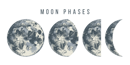 Moon phases. Hand drawn vector illustration Stok Fotoğraf - 110480591