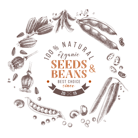 Seeds and beans wreath composition with hand drawn plants and type design