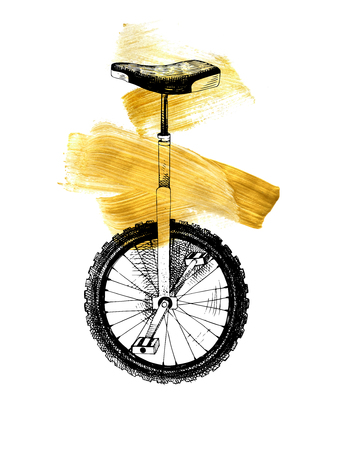 Hand drawn black and white monocycle over golden strokes. Vector illustration.