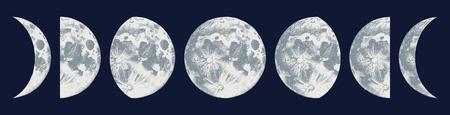 Fases de la luna dibujadas a mano sobre fondo oscuro. Ilustración vectorial