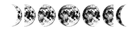 Fasi lunari. Illustrazione vettoriale disegnato a mano
