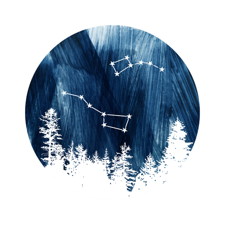 Round composition with Big Dipper and Little Dipper constellations over dark blue sky. Vector illustration