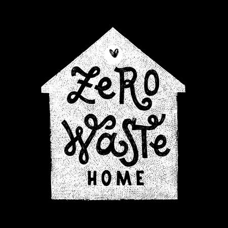 Zero waste home hadwritten lettering Illusztráció