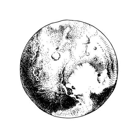 Planeta Plutón dibujado a mano Ilustración de vector