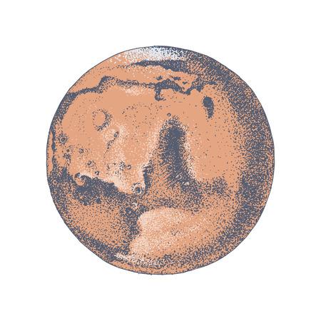 Hand drawn planet Mars Illustration