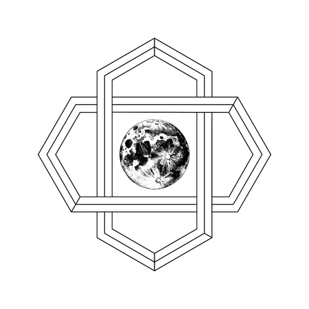 Sacred geometry sign with hand drawn earth. Abstract background. Tattoo concept. Vector illustration