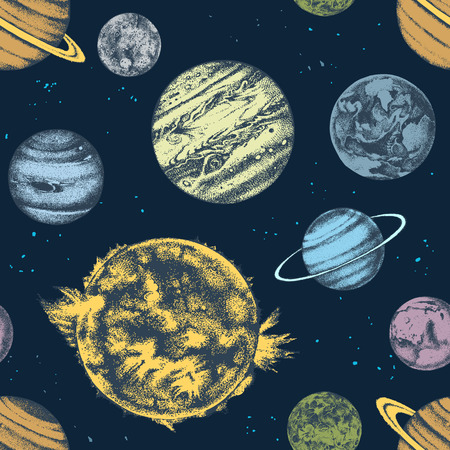 Vector seamless with solar system planets Çizim