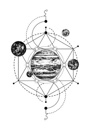Heilige geometrie achtergrond met Jupiter
