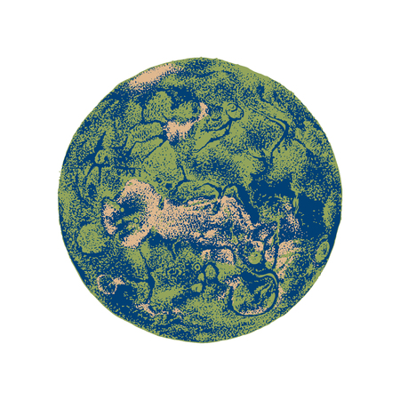Hand drawn Venus planet isolated on white background. Vector illustration in vintage style