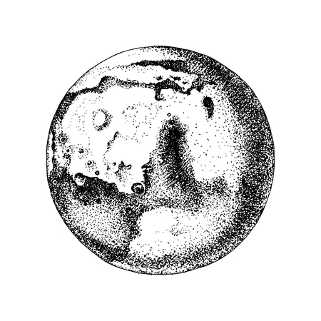 Hand drawn planet Mars Illustration