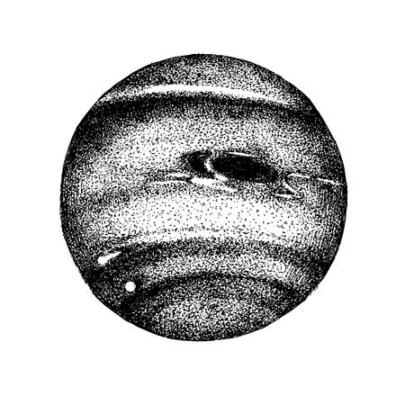 Hand drawn black and white Neptune planet. Vector illustration