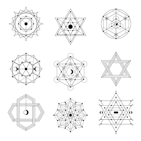 Sacred geometry vector set Çizim