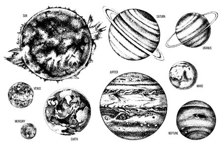 Hand drawn solar system illustration: Sun, Mercury, Venus, Earth, Mars, Jupiter, Saturn, Uranus, Neptune. Stock fotó - 109759366