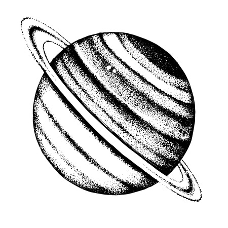 손으로 그린 토성 행성