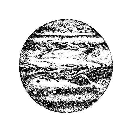 Hand drawn planet Jupiter