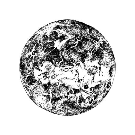 Planète Vénus dessinée à la main isolée sur fond blanc. Illustration vectorielle dans un style vintage Vecteurs