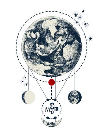 Fond de géométrie sacrée avec la terre et la lune Vecteurs