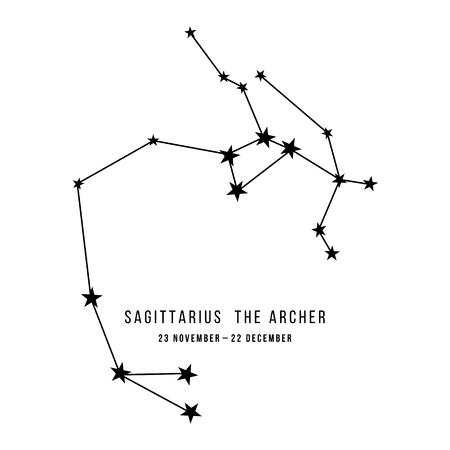 Constelación del zodíaco Sagitario Ilustración de vector