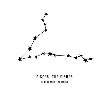 Zodiac constellation Pisces 向量圖像