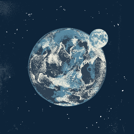 Hand drawn colorful Earth and Moon on dark night background. Vector illustration in vintage style Illustration