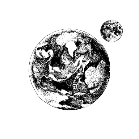 Hand drawn black and white Earth and Moon. Vector illustration in vintage style
