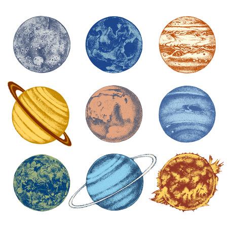 Illustration du système solaire dessiné à la main: Soleil, Mercure, Vénus, Terre, Mars, Jupiter, Saturne, Uranus, Neptune. Vecteurs