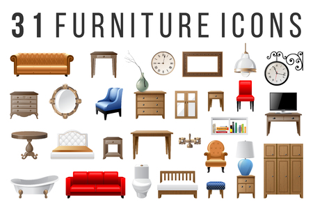 Set of 31 highly detailed furniture icons Archivio Fotografico - 128182528