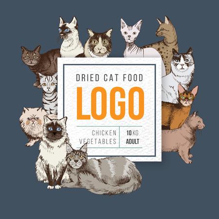 Modello di emblema di carta quadrata cibo per gatti su sfondo scuro con gatti di razza disegnati a mano. Illustrazione vettoriale