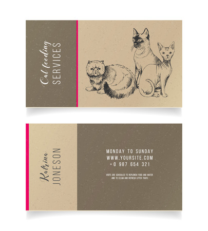 Cat feeding services business card template. Vector illustration