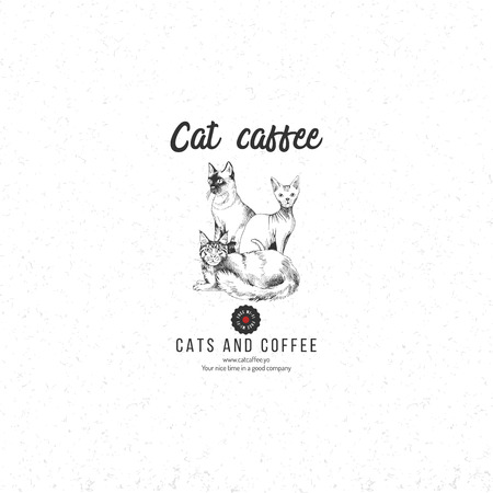 Cat caffee logo template