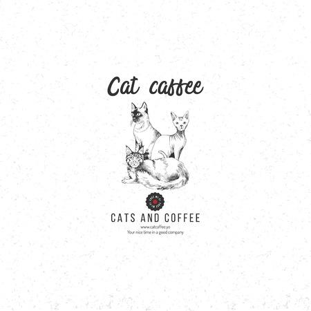 Cat caffee logo template Reklamní fotografie - 111438448