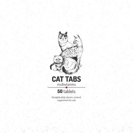 Plantilla de logotipo de pestañas de gato
