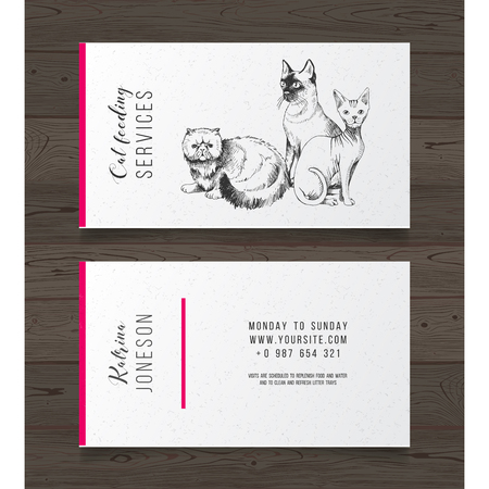 Cat feeding services business card template on dark wooden background. Vector illustration Stock Illustratie