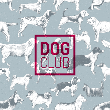 Dog club label over pattern with hand drawn dogs Illustration