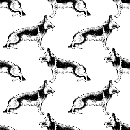 Seamless pattern with hand drawn German Shepherds