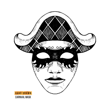 Hand drawn black and white Venetian carnival Harlequin mask. Vector illustration