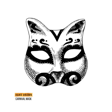 Hand drawn black and white Venetian carnival cat mask. Vector illustration Ilustracja
