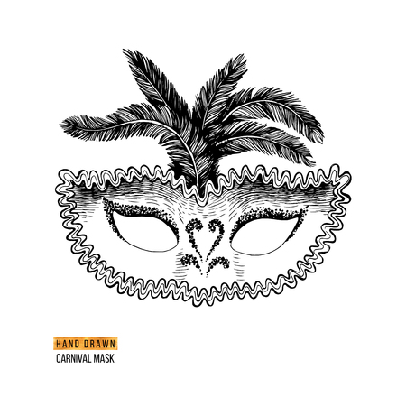 Hand drawn Venetian carnival mask with feathers. Vector illustration