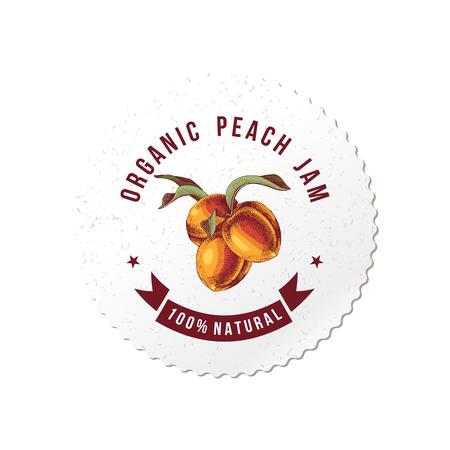 Organic peach jam round emblem