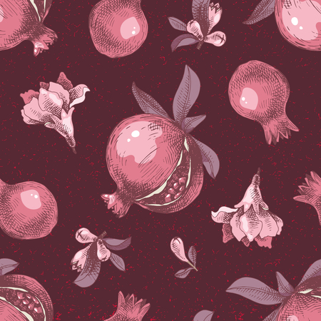 Seamless pattern with hand drawn pomegranates. Vector illustration Stock Illustratie