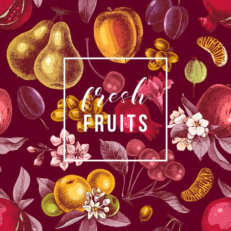 Emblema di frutta fresca sul modello senza cuciture con frutti colorati disegnati a mano. Illustrazione vettoriale Vettoriali