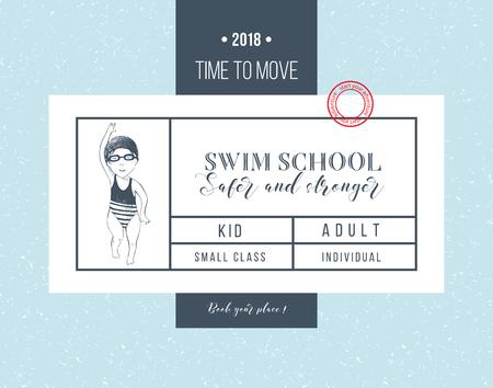 Swim school horizontal banner with girl swimming. Vector illustration Stock Illustratie