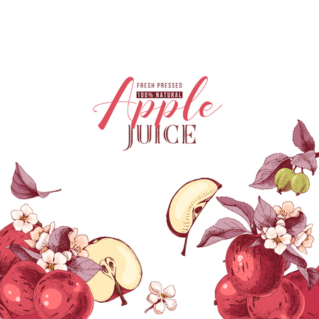 Background with hand drawn apple fruits and flowers. Vector illustration Ilustracja