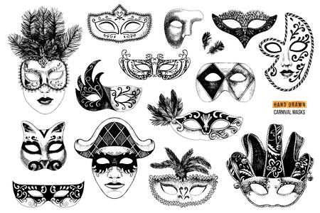 Colección de máscaras de carnaval veneciano en blanco y negro dibujadas a mano. 14 elementos únicos. Ilustración vectorial