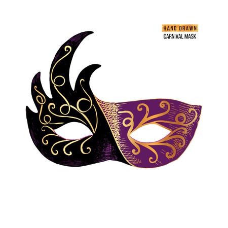 Máscara de mascarada de carnaval veneciano dibujado a mano. Ilustración vectorial