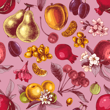 Seamless pattern with hand drawn colorful fruits . Vector illustration Standard-Bild - 126871347