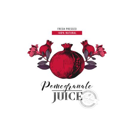 Pomegranate juice logo template