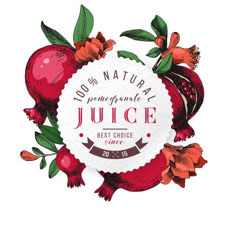 Round paper emblem with type design over pomegranate Illustration