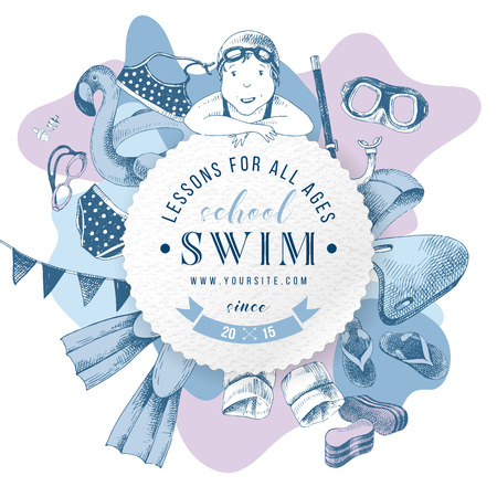 Swim school round paper emblem over background with hand drawn swimming accessories. Vector illustration