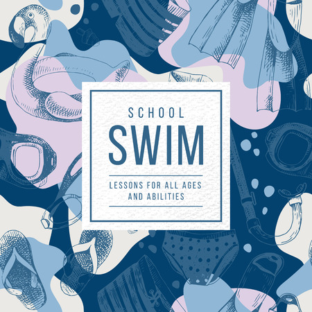 Swim school emblem over seamless pattern with hand drawn swimming accessories. Vector illustration